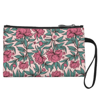 Sweet orange pink floral hand drawn illustration wristlet