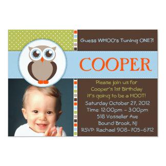 "Sweet Owl Birthday Party Invitation  - BOY - 5"" X 7"" Invitation Card"