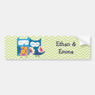 Sweet Owl Lovers Pair on Chevron Background Bumper Sticker