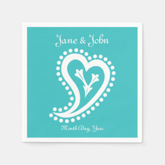Sweet Paisley Hearts in Turquoise Napkins Disposable Napkins