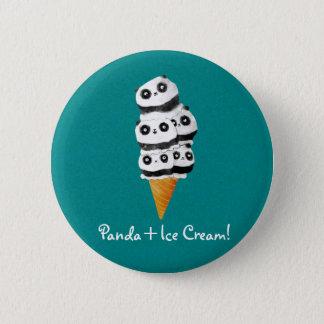 Sweet Panda Bear Ice Cream Cone 6 Cm Round Badge