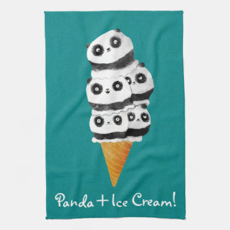 Sweet Panda Bear Ice Cream Cone Kitchen Towels
