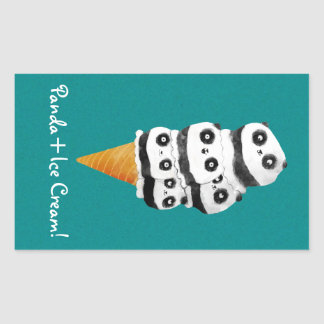 Sweet Panda Bear Ice Cream Cone Rectangular Stickers