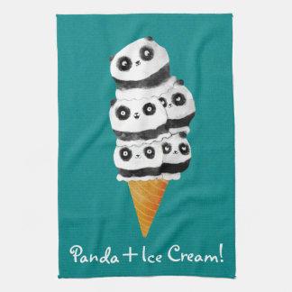 Sweet Panda Bear Ice Cream Cone Tea Towel