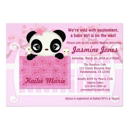 Sweet PANDA Girl Baby Shower Invitation Pink