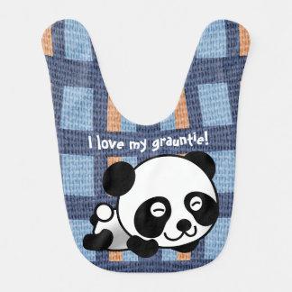 "Sweet Panda, Plaid & ""I Love My Grauntie!"" Bib"