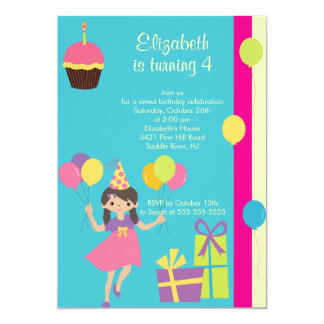 Sweet Party Girl Birthday Party Invitation