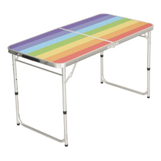 Sweet Pastel rainbow stripes pattern Pong Table