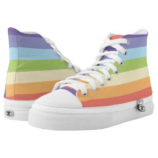 Sweet Pastel rainbow stripes pattern Printed Shoes