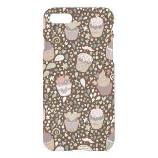 Sweet  pattern made of tasty cupcakes iPhone 7 case