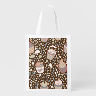 Sweet  pattern made of tasty cupcakes reusable grocery bag