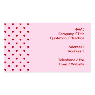 Sweet pattern of red hearts on pink. business card templates
