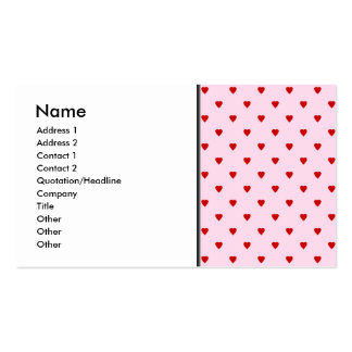 Sweet pattern of red hearts on pink. business card