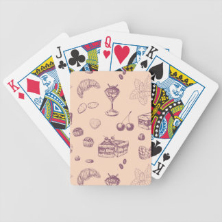 Sweet pattern with various desserts. bicycle playing cards