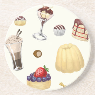 Sweet pattern with various desserts. coaster
