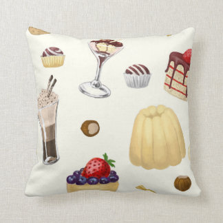 Sweet pattern with various desserts. cushion