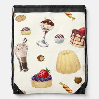 Sweet pattern with various desserts. drawstring bag