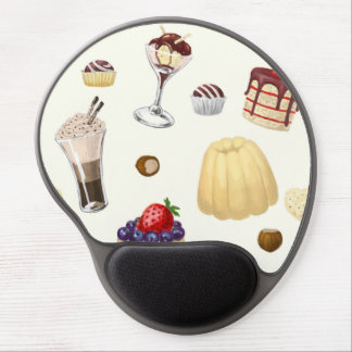 Sweet pattern with various desserts. gel mouse pad