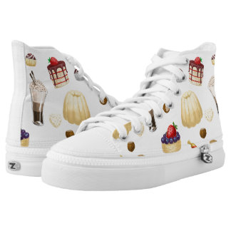 Sweet pattern with various desserts. high tops