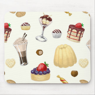 Sweet pattern with various desserts. mouse pad
