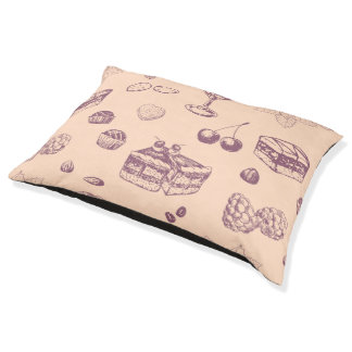 Sweet pattern with various desserts. pet bed