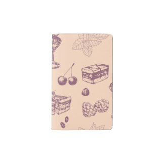 Sweet pattern with various desserts. pocket moleskine notebook