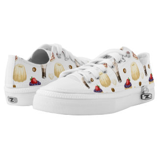 Sweet pattern with various desserts. printed shoes
