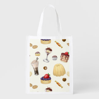 Sweet pattern with various desserts. reusable grocery bag