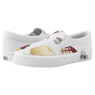 Sweet pattern with various desserts. slip on shoes