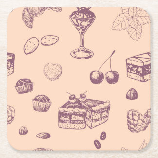 Sweet pattern with various desserts. square paper coaster