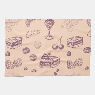 Sweet pattern with various desserts. tea towel
