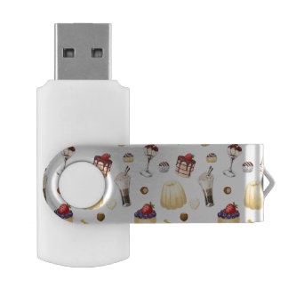 Sweet pattern with various desserts. USB flash drive