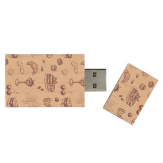 Sweet pattern with various desserts. wood USB flash drive