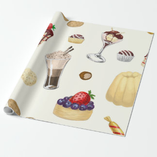 Sweet pattern with various desserts. wrapping paper