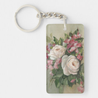 Sweet Pea and Rose Bouquet Key Ring
