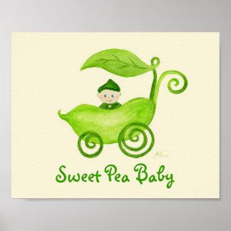 Sweet Pea Baby Boy art poster print