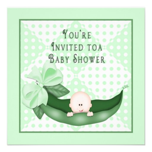 Sweet Pea Baby Shower Invitations (Green) Personalized Announcements
