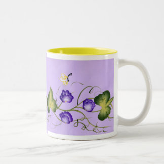 Sweet Pea Blossom and Butterfly Two-Tone Coffee Mug