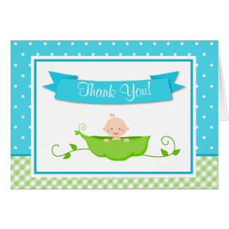 Sweet Pea Boy Thank You Card Folded Note Card