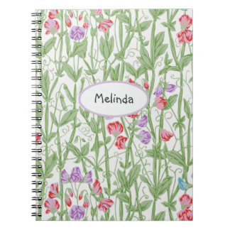 Sweet Pea Floral Pattern Personalized Monogram Notebook