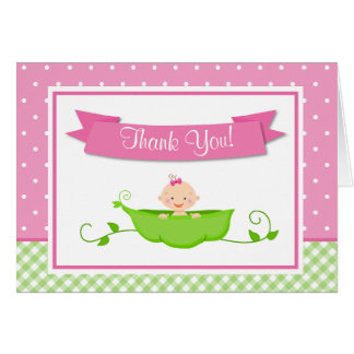 Sweet Pea Girl Thank You Card Folded Note Card