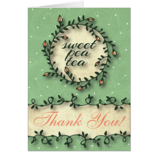 Sweet Pea Tea Birthday –Green Thank You Note Card