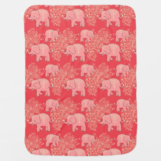 Sweet Peach elephants cozy baby blanket