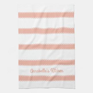 Sweet Peach Ribbons Personalized Tea Towel