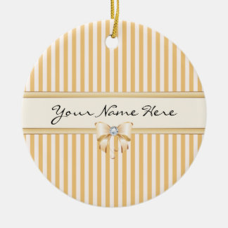 Sweet Peach Stripes with Shiny Ribbon Bow Ceramic Ornament