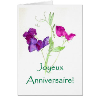 Sweet Peas Birthday Card - French Greeting