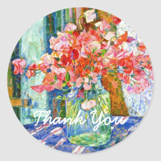 Sweet Peas in a Mason Jar Thank You Classic Round Sticker