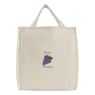 Sweet Pickings Bunch of Purple Grapes Grocery Canvas Bag
