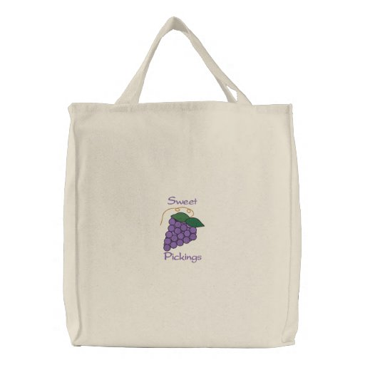 Sweet Pickings Bunch of Purple Grapes Grocery Bag