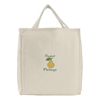 Sweet Pickings Yellow Pear Fruit Grocery Embroidered Bag